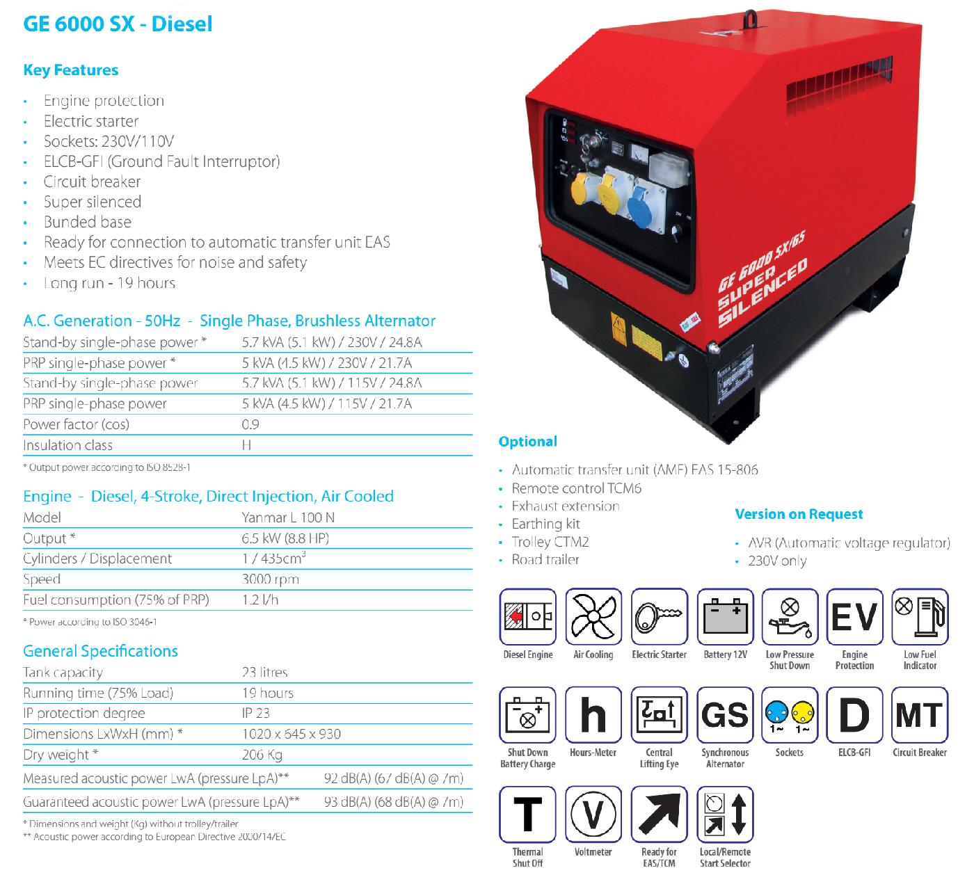 Mosa ge 6000 sx gs eas generating set diesel wecs ltd for Mosa ge 3000