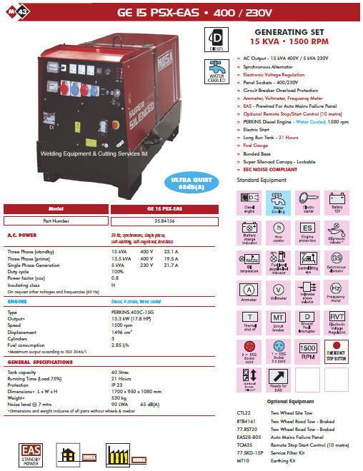 Mosa Ge 15 Psx-eas Generating Set 400  230 Volt
